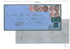 1871.2 18713d Rose Block of 4 Spectacular 2s6d Rate Destination Mail/Paris | eBay