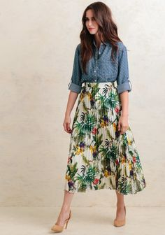 Island In The Sun Floral Midi Skirt