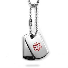 Medical Stainless Steel Double Dog Tag Necklace inset 1