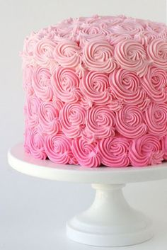 Baby Shower Cakes DIY - Pink Ombre Swirl Cake - Easy Cake Recipes and Cupcakes to Make For Babies Showers - Ideas for Boys and Girls, Neutral, for Twins Pretty Cakes, Cute Cakes, Beautiful Cakes, Amazing Cakes, Beautiful Flowers, Beautiful Life, Simply Beautiful, Cake Cookies, Cupcake Cakes