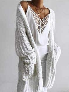 Chellysun Casual Long White Cardigan - White / S White Cardigan Outfit, Long White Cardigan, Cardigan Outfits, Boho Outfits, Sweater Cardigan, Fashion Outfits, Autumn Outfits, Look Boho, Bohemian Style