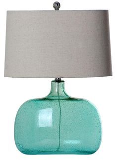 One Light Seeded Aqua Textured Linen Shade Table Lamp : SKU 225C7 | Annapolis Lighting: not crazy about the gray shade, but this blue glass is beautiful!
