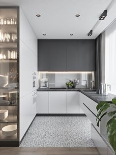 Modern Kitchen Interior These minimalist kitchen ideas are equal components calm and trendy. Find the very best concepts for your minimalist style kitchen that matches your taste. Search for impressive images of minimalist design kitchen for inspiration. Grey Kitchen Designs, Kitchen Room Design, Kitchen Cabinet Design, Modern Kitchen Design, Home Decor Kitchen, Interior Design Kitchen, Home Kitchens, Kitchen Ideas, Modern Kitchens