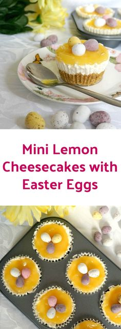 My mini lemon cheesecakes with Easter eggs are the best dessert for Easter. The bite-size treat has such a mixed range of textures and tastes. The base is crunchy, yet crumbly at the same time, while the cream cheese filling is rich, soft and sweet, and the lemon curd brings sharpness and freshness. And then you have the chocolatey mini eggs. Can it get any better than this? #easter , #cheesecake , #lemoncurd , #lemon , #dessert , #easterdessert, #lemoncheesecake, #eastereggs