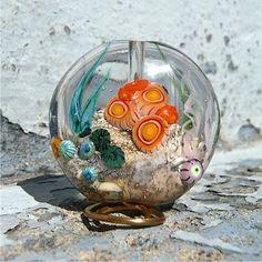 Glass Ocean Bead Sea Bead Aquarium Bead Orange by MitosisGlass, $85.00