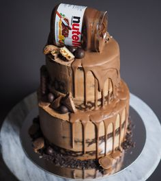 Layered semi naked cake topped with chocolate bar pieces and a jar of Nutella - perfect for corporate events, birthdays or wedding celebrations. By Bake you smile in Perth, Australia Drip Cakes, Nutella Recipes, Cake Recipes, Nutella Birthday Cake, Cake Cookies, Cupcake Cakes, Cupcakes, Chocolate Bar Cakes, Birthday Cakes Delivered