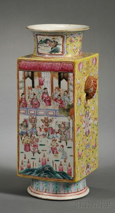 Chinese Porcelain Mandarin Decorated Vase, China, 19th century, square-sided and with elephant head handles, polychrome decorated with battle scenes to either side alternating with pink flowers and pomegranates to a famille jeune ground.