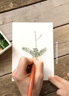 Timelapse of a simple hemlock pine botanical illustration Painting Tutorial, Art Lessons, Botanical Drawings, Art Painting, Watercolor Paintings, Tree Painting, Watercolor Christmas Cards, Painting Crafts, Diy Canvas Art