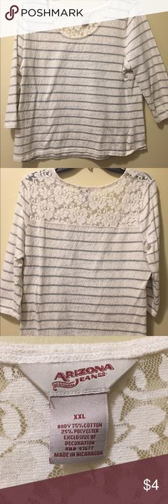 White and grey striped shirt with a lace back 3/4 length sleeves and very comfortable! Arizona Jean Company Tops Blouses