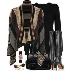 Long black shirt/dress with black bag and boots.