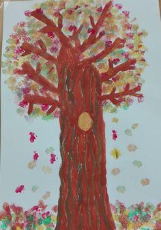 Herbstbaum mit Wattestäbchendruck Painting, Art, Printmaking, Printing, Painting Art, Paintings, Kunst, Paint, Draw