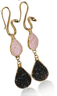WHITNEY #90150  14k gold vermeil snake post with multi-colored druzy crystals