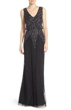 Womens Adrianna Papell Beaded Mesh Blouson Gown Size 16 - Black $278.00 AT vintagedancer.com