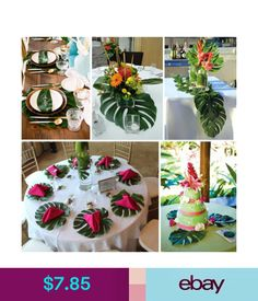 Flowers, Floral Decor 12X Artificial Tropical Palm Leaves Table Placemat Hawaii Style Festival Party #ebay #Home & Garden