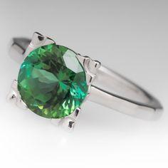 2.5 Carat Green Tourmaline Solitaire Ring
