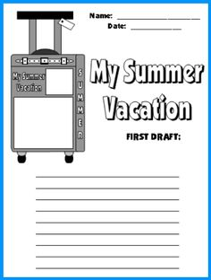 my summer vacation journal unique creative writing pages w  my summer vacation suitcase first draft printable worksheets