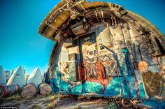 Airplane graveyard graffiti.