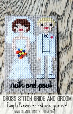 Cross stitch bride and groom--tutorial for making your own.