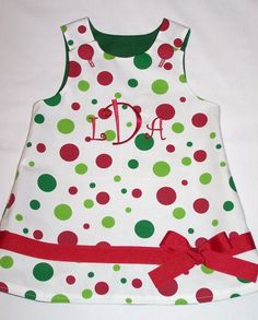 Custom Boutique Clothing Girls Reversible Christmas A Line Dress with Present Applique Size 6-12mos-5yr on Etsy, $57.00