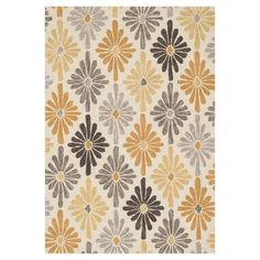 Bring au courant style to your decor with this chic rug, showcasing a diamond floral motif in ivory and gold.    Product: Rug
