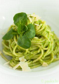 Feldsalatpesto mit Spaghetti