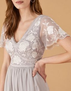 Daphnee Embroidered Maxi Dress Grey | Evening Dresses | Monsoon UK. Hippie Bridesmaid Dresses, Bridesmade Dresses, Bridal Dresses, Bridesmaids, Grey Evening Dresses, Nice Dresses, Planet Dresses, Lace Top Outfits, Wedding Outfits For Women
