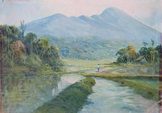 oilpainting, possible of the mountain Salak, Bogor, Java, Indonesia - c. 1950