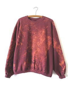90s Bleached Acid Wash Oxblood Sweatshirt by BuddyBuddyVintage