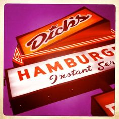 dick's drive in. local Seattle.SOO Good! Dick's Deluxe and a Maple Nut Ice Cream with Hot fudge Please!!