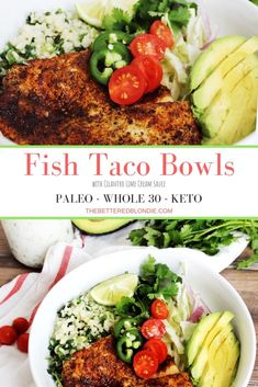 Fish taco bowls with crunchy cabbage, spicy fish and creamy sauce are the perfect weeknight meal for the whole family to enjoy! Fish taco bowls with crunchy cabbage, beautifully spiced fish and a creamy sauce to top it off Avocado Recipes, Healthy Salad Recipes, Healthy Breakfast Recipes, Fish Recipes, Seafood Recipes, Keto Recipes, Yummy Recipes, Calamari Recipes, Seafood Dishes