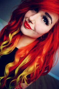 Red and yellow ombre hair colorful hair fire hair, hair и ha Locks, Pelo Multicolor, Bright Hair Colors, Colorful Hair, Red Ombre Hair, Fire Hair, Hair Color And Cut, Hair Colour, Funky Hairstyles