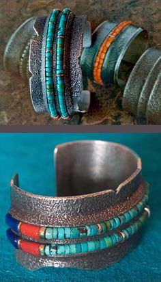 Charles Loloma Homage Silver, Gold and Turquoise Bracelet by Wes Willie  ||  2;500$