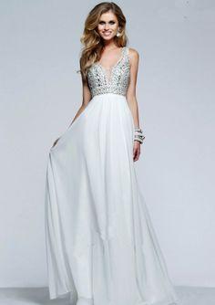 2015 Ivory A-line Strsaps Beaded Chiffon Floor Length Evening Dress/ Prom Dresses s7500