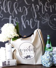 The Market Tote Bag - cute idea for a custom canvas tote bag ... like the black accents