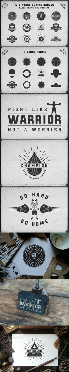 12 Vintage Boxing Badges Template PSD, Vector EPS, AI Illustrator