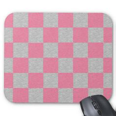 Pink and Gray Checkered Mousepad