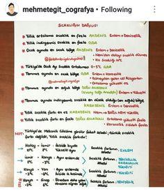 Fenbilimleriyolculugu2018  Mehmetegitcografya instagram takip edebilirsiniz #coğrafya kpss tarih Study Tips, Geography, Notes, Journal, Thoughts, Instagram, School, Check, Reading