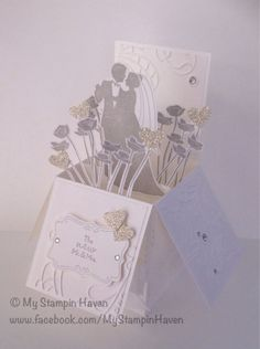Marry Me, Silver Glimmer, Small Heart punch,  Elegant Lines Embossing Folder wedding card in a box