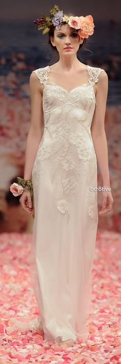 Claire Pettibone: 'Alma' Spring 2013 -   Ivory floral embroidery with pearl silk and guipure embellished neckline and back.