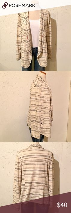 "NEW! Anthro Saturday Sunday Striped Cardigan New without tags.  Plastic tag still attached, paper tag removed.  Cream with Muted navy stripes.  Side Pockets.  Red accent stitching on front.  Size Medium. 28.5"" Long at the longest part.  93% Cotton and 7% Poly. Anthropologie Sweaters Cardigans"
