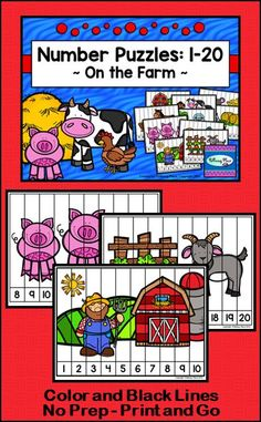 Number Puzzles: Counting - On the Farm Printable Puzzles, Printable Numbers, Printables, Teaching First Grade, Teaching Kindergarten, Ordering Numbers, Number Puzzles, Farm Theme, Arithmetic