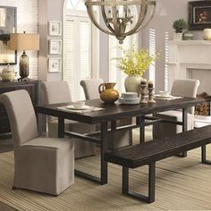 A Line Furniture Industrial Style Rustic Bold Design Black Metal Base Dining Set Brown, Beige Sets Furnishings, Rectangle Dining Table, Casual Dining Rooms, Coaster Fine Furniture, Coaster Furniture, Furniture, Reclaimed Wood Dining Table, Home Decor, Dining Room Sets