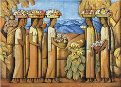 Alfredo Ramos Martinez (1872-1946). Vendedoras de Flores de Xochimilco. The artist trained at Bellas Artes en Mexico, D.F.