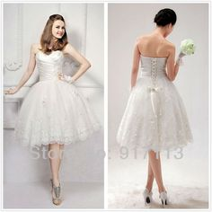 Find More Wedding Dresses Information about Stunning Short Knee length White/Ivory Sweetheart Applique Beading Tulle Wedding Dress Custom Size 4 6 8 10 12 14 16 18+++,High Quality dress ball gown,China gown ball dress Suppliers, Cheap gown party dress from Rosesnowke  store on Aliexpress.com