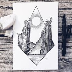 Artist Draws Millions of Tiny Dots to Calmly Ease Her Anxiety And The Results Are Amazing – Swedish illustrator Josefine Svärd creates fantastical stippling art… Hobbit Tattoo, Tolkien Tattoo, Lotr Tattoo, Gandalf Tattoo, Ring Tattoos, Body Art Tattoos, Sleeve Tattoos, Cool Tattoos, Tattoo Art