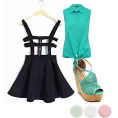 turquoise or whatever by inkcat on Polyvore featuring polyvore fashion style M&Co Nails Inc.