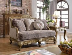 Palmas Pewter Imported Fabric Removable Back Loveseat