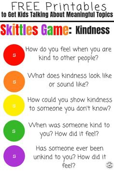 Skittles Game For Kids To Encourage Kindness And Friendship By Having Meaningful Discussions And Conversations On Hard Topics. This is perfect for youth groups, scouts, classrooms and family dinners. Kindness For Kids, Teaching Kindness, Kindness Activities, Counseling Activities, Group Activities, Group Games, Primary Activities, Play Therapy Activities, Therapy Games