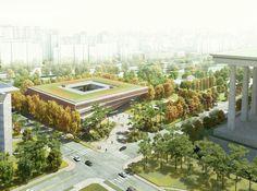Gallery - Winning Design for Seoul& National Assembly Smart Work Center and Press Center Unveiled - 1 Nova, Aquarium Design, Landscape Architecture, Architecture Visualization, Building Architecture, Architecture Portfolio, Landscape Design, Facade Design, Master Plan