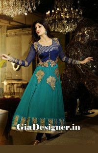 Shilpa Shetty Firozi Dark Blue Net Anarkali Bollywood Replica Suit
